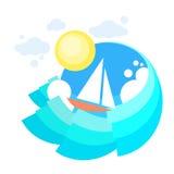 Mer de bateau de yacht de voile, océan Vaction de navigation d'icône illustration stock