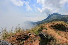 Mer de brume chez Doi Pha Tang, secteur de Wiang Kaen, Chiang Rai, Thaïlande Images libres de droits