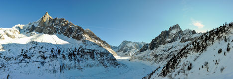 Mer de Glace glacier in the French Alpes, Chamonix, France Royalty Free Stock Photos