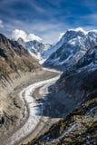Mer de Glace Glacier-Mont Blanc ορεινός όγκος, Γαλλία Στοκ Εικόνες