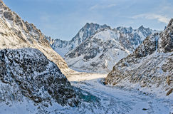 Mer de Glace Glacier: Panorama Royalty Free Stock Photography