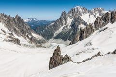 Mer DE Glace (Overzees van Ijs) is een gletsjer op Mont Blanc wordt gevestigd dat Royalty-vrije Stock Afbeeldingen