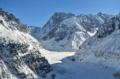 The Mer de Glace, Sea of Ice in Chamonix, France. The Mer de Glace glacier in Chamonix, France. Sea of Ice Stock Image