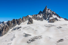 Mer de Glace (Sea of Ice) is a glacier located on the Mont Blanc Stock Photo