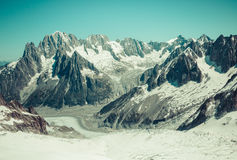 Mer de Glace (Sea of Ice) is a glacier located on the Mont Blanc Stock Photography