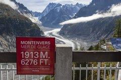 Mer de Glace tecken på smältning av den Mont Blanc glaciären royaltyfria bilder