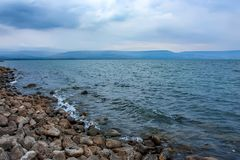 Mer de la Galilée en Israël images libres de droits