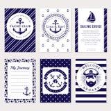 Mer de vecteur et carte et bannières nautiques Images libres de droits