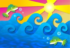Mer de Wavey illustration stock