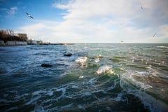 Mer des nuages et des mouettes Photo libre de droits