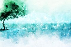 Mer et arbre colorés sur la peinture d'illustration d'aquarelle illustration de vecteur