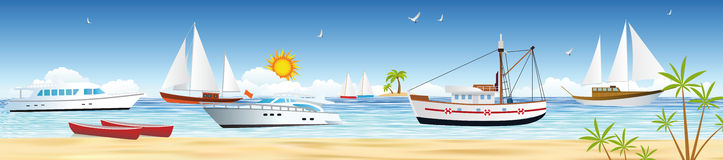 Mer et bateaux illustration stock