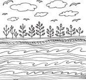 Mer et ciel d'été avec des nuages et des oiseaux illustration de vecteur