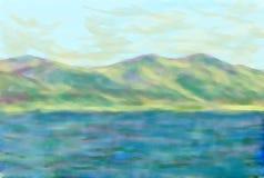 Mer et ciel de montagnes illustration de vecteur