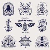 Mer et emblèmes nautiques Illustration de vecteur illustration libre de droits