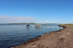 Mer et pêcheurs Photographie stock