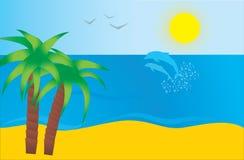 Mer et plage illustration de vecteur