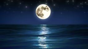 Mer et pleine lune Ciel nocturne avec les étoiles de clignotant Belle animation faite une boucle de détente HD 1080 illustration de vecteur