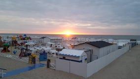 Mer et soleil du nord de la Belgique Photos stock