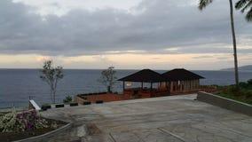 Mer et villa Photos stock