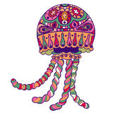 Mer fleurie tirée par la main d'animal de méduse de méduses Photographie stock