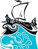 Mer grecque et vie marine d'office de gravure sur bois Photo libre de droits