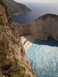 Mer ionienne de plage de Navagio Photographie stock libre de droits
