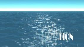 Mer, jour d'été Beaucoup de fines particules et texte, ONT LAISSÉ LES USA ALLER DES VACANCES banque de vidéos