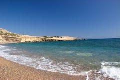 Mer l'Europe de plage d'été de Rhodos Grèce Images libres de droits