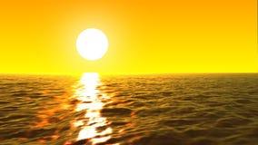 mer loopable de FullHd 3d avec le grand coucher du soleil et les vagues illustration libre de droits