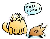 Mer mat vektor för anförande för bubbladiagramperson talande Orange katt och stekt kyckling också vektor för coreldrawillustratio Royaltyfri Foto