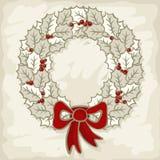 Mer monochrome de guirlande de feuilles de houx de vacances d'hiver Photographie stock libre de droits