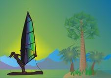 Mer, paumes et windsurfer Photo stock