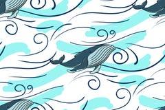 Mer sans couture de modèle et baleine bleue Sur un fond blanc illustration de vecteur