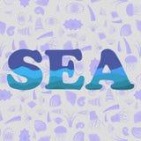 Mer Shell Silhouette Seamless Pattern Photo stock