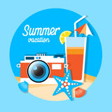 Mer Shell Summer Vacation d'appareil-photo Image libre de droits