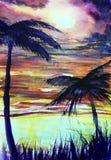Mer tropicale de coucher du soleil de paumes d'illustration d'aquarelle illustration stock