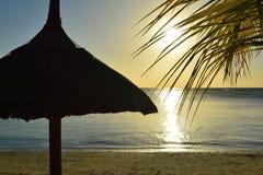 Mer tropicale de vacances de silhouette de paradis de plage Photographie stock