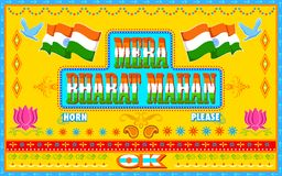 Mera Bharat Mahan στο ύφος χρωμάτων φορτηγών Στοκ Εικόνες