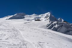 Mera peak behind mera la pass in Mera region, Himalaya mountain Stock Images