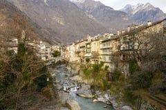Mera river at Chiavenna, Italy Royalty Free Stock Images