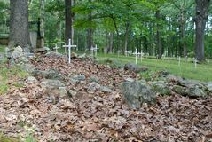 Meramec Graveyard. A cemetery from the 1800s, with graves now marked by PVC pipe crosses. This is where employees of the Maramec Iron Works and their families Royalty Free Stock Images