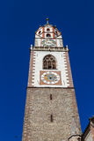 Meran, South Tyrol. Tower of St. Nikolaus church in Meran, South Tyrol Stock Photos