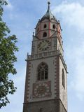 Merano钟楼, Sud提洛尔 库存图片