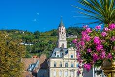 Merano στο νότιο Τύρολο, μια όμορφη πόλη Trentino Alto Adige, άποψη φθινοπώρου του καθεδρικού ναού του Meran Ιταλία Στοκ Εικόνες