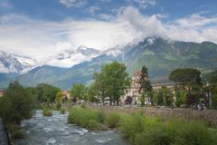 Merano, a beautiful town in the Alpine mountains of South Tyrol. A view of the city and the river stock photography