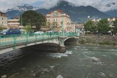 Merano, a beautiful town in the Alpine mountains of South Tyrol. View of the city and the river stock photo