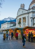 Merano Christmas market in the evening, Trentino Alto Adige, northern Italy. Merano or Meran is a town and comune in South Tyrol, northern Italy stock image
