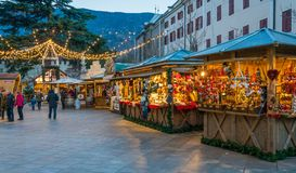 Merano Christmas market in the evening, Trentino Alto Adige, northern Italy. Merano or Meran is a town and comune in South Tyrol, northern Italy royalty free stock photography