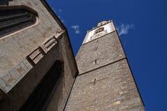 Merano or Meran clock tower. Low angle view of Merano or Meran city clock tower with blue sky background, Bolzano-Bozen, Italy stock photos